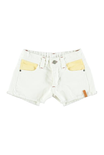 tricolor shorts | off white, yellow, pink & green