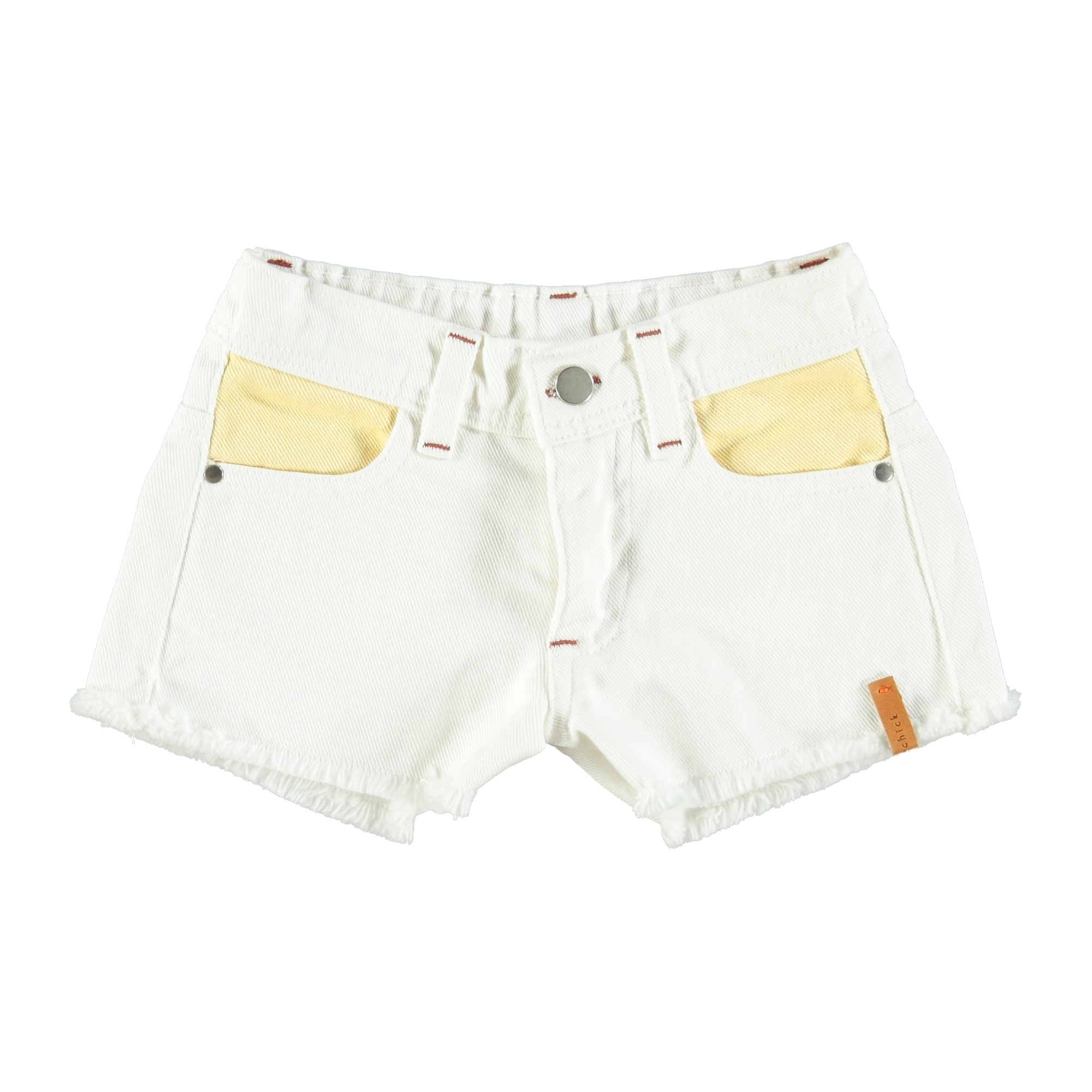 tricolor shorts | off white, yellow, pink & green-1