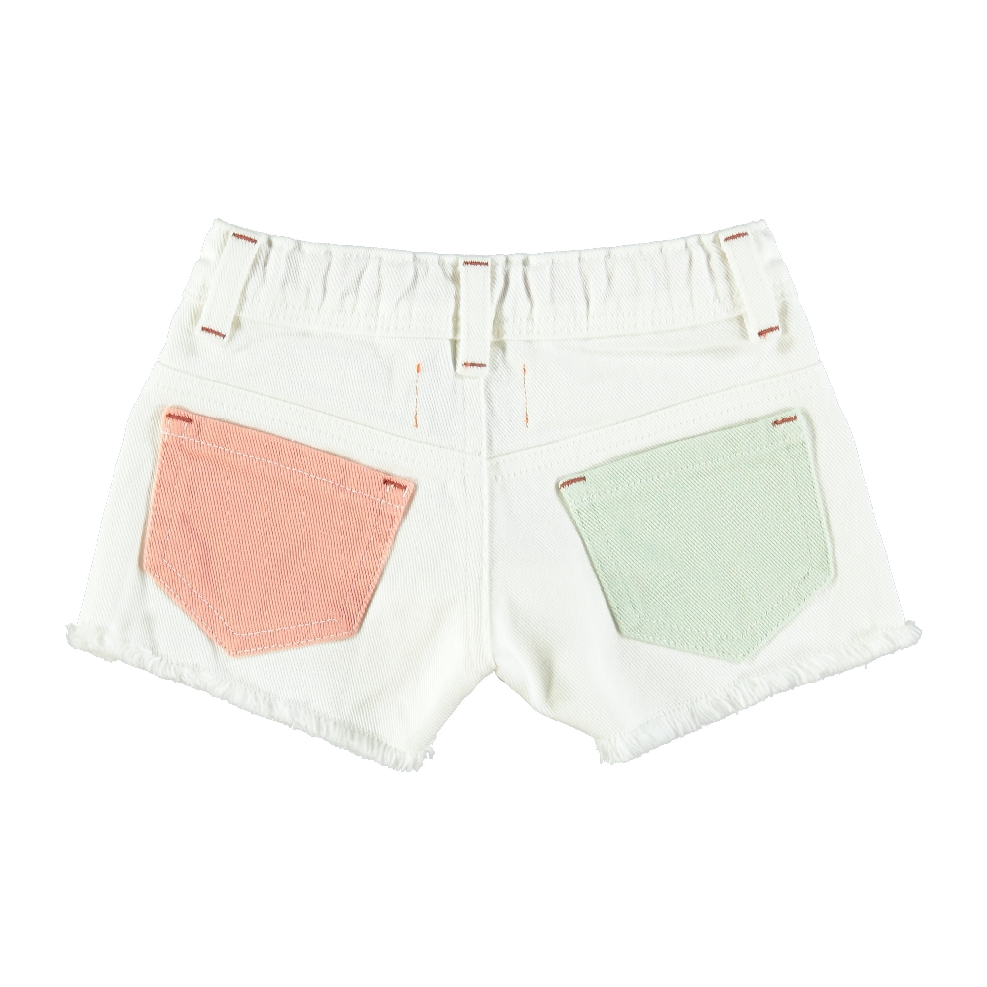 tricolor shorts | off white, yellow, pink & green-2
