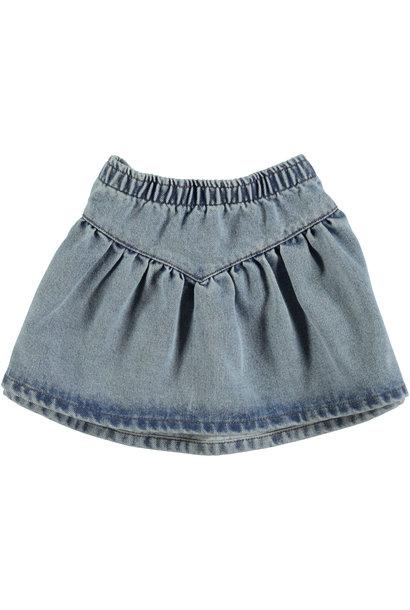 mini skirt   light blue washed denim
