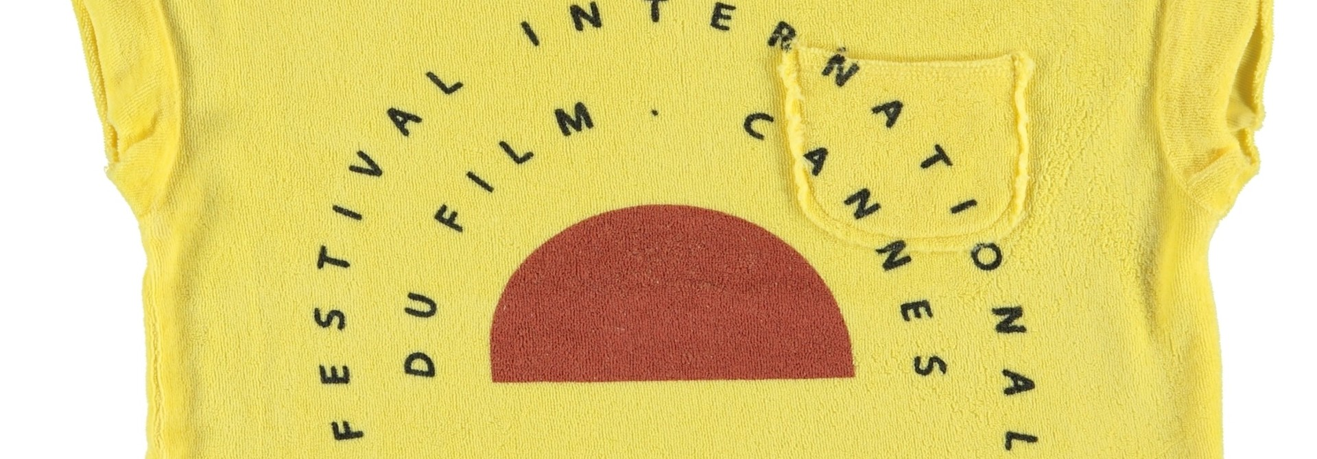 "t-shirt | yellow w/ ""festival"" garnet & black print"