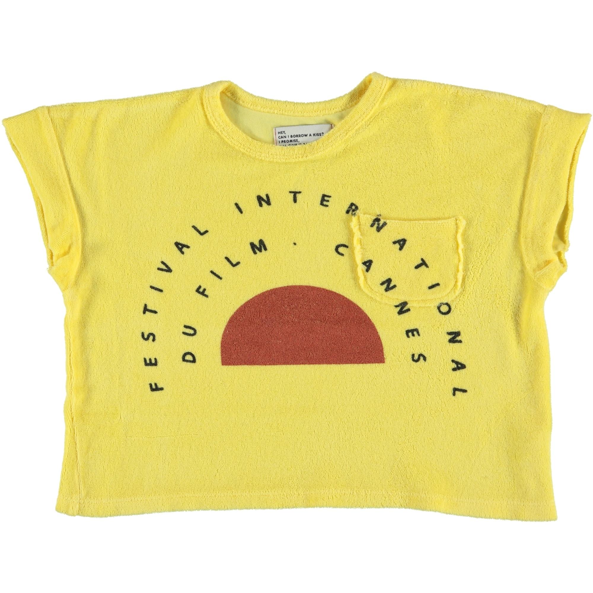 "t-shirt | yellow w/ ""festival"" garnet & black print-1"