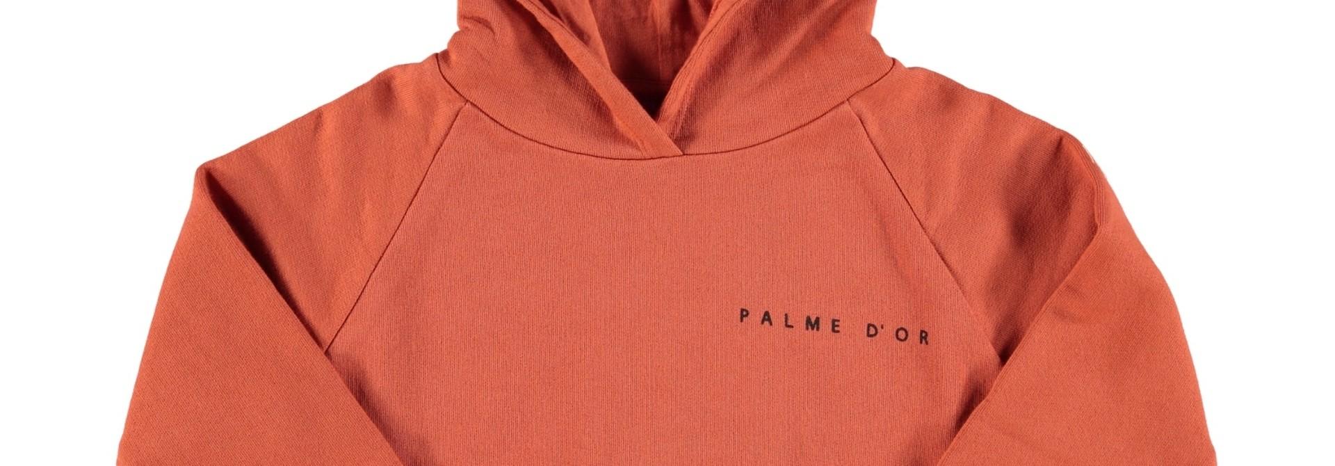hooded sweatshirt | garnet w/ print