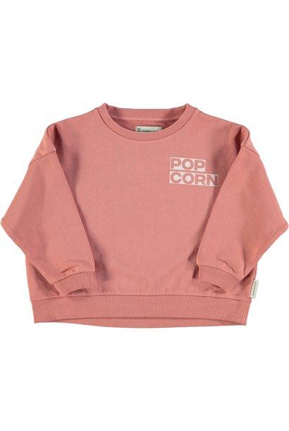 "unisex sweatshirt | pink w/ ""popcorn"" print"