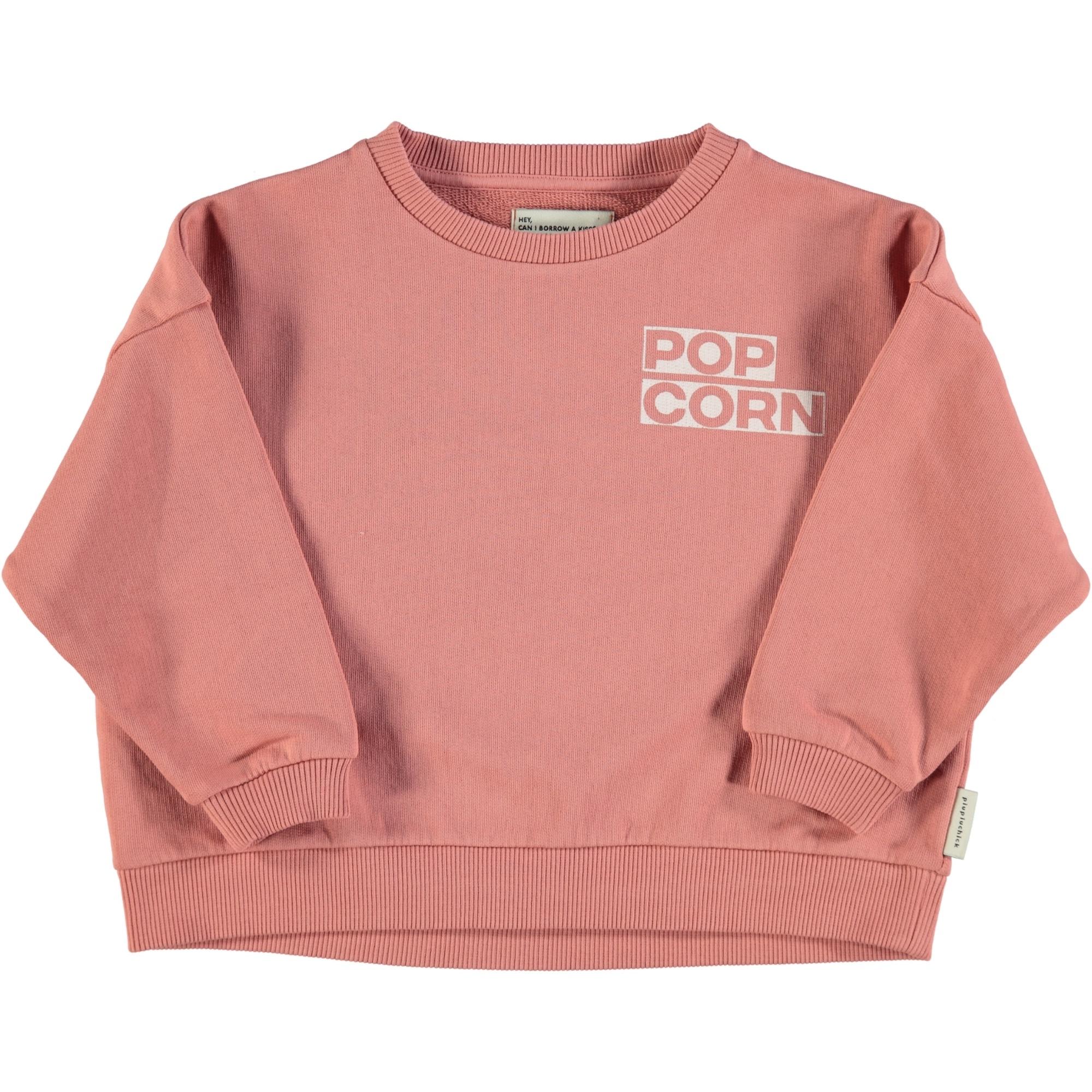 "unisex sweatshirt | pink w/ ""popcorn"" print-1"