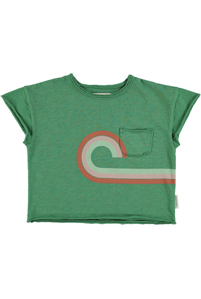 "t-shirt | green w/ multicolor & ""at the movies"" print"
