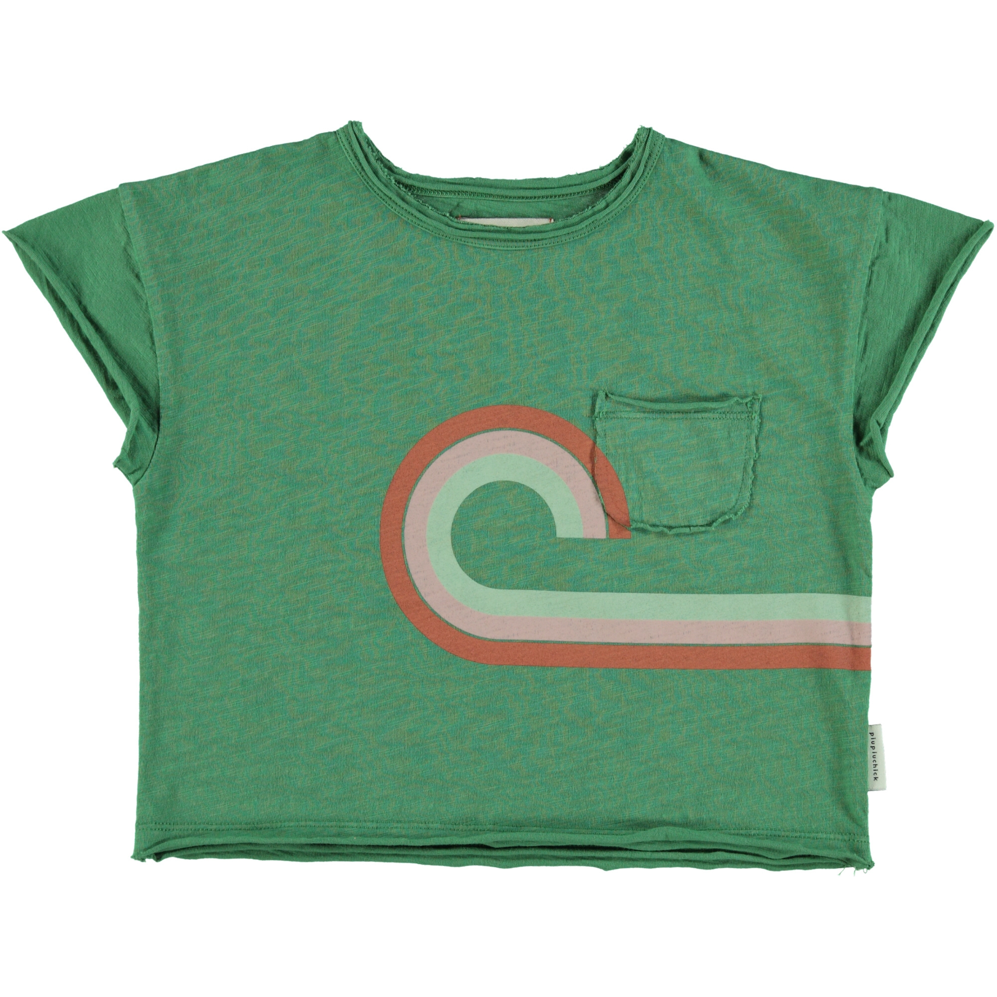 "t-shirt | green w/ multicolor & ""at the movies"" print-1"