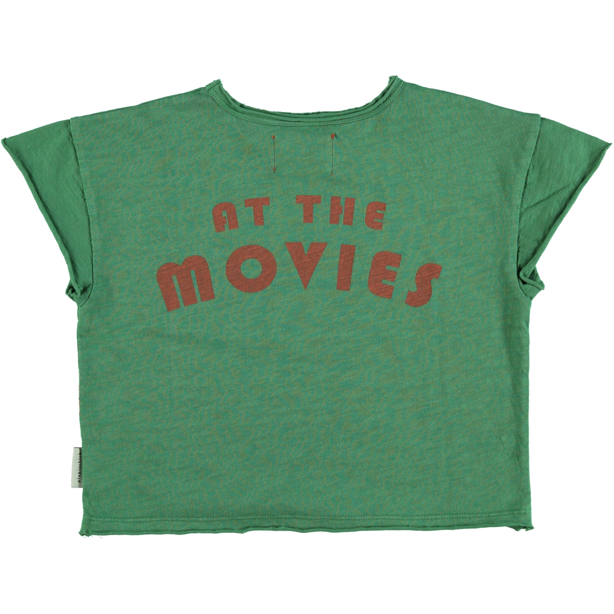 "t-shirt | green w/ multicolor & ""at the movies"" print-2"