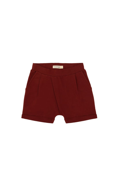 Fold-over shorts - deepest brick
