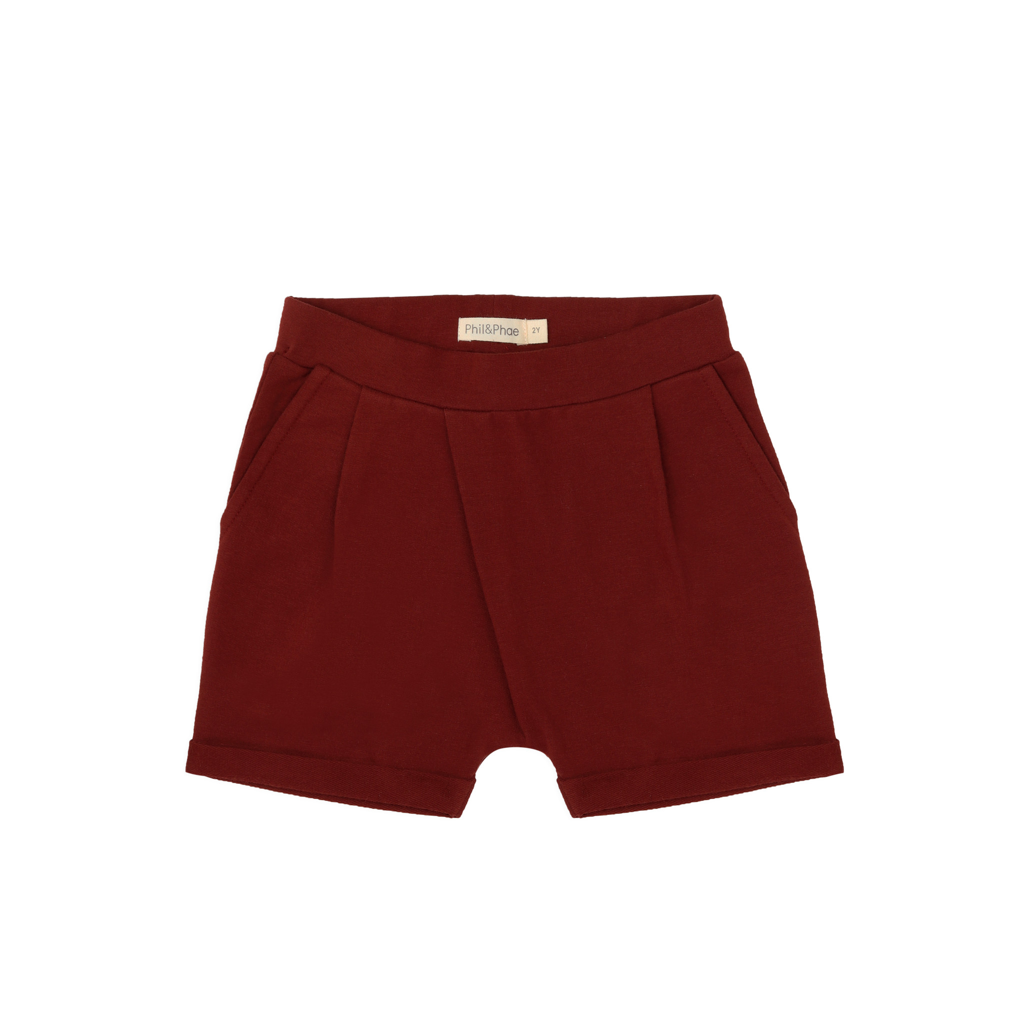 Fold-over shorts - deepest brick-1