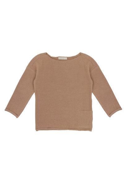 Drop-shoulder knit sweater - Dusty nude