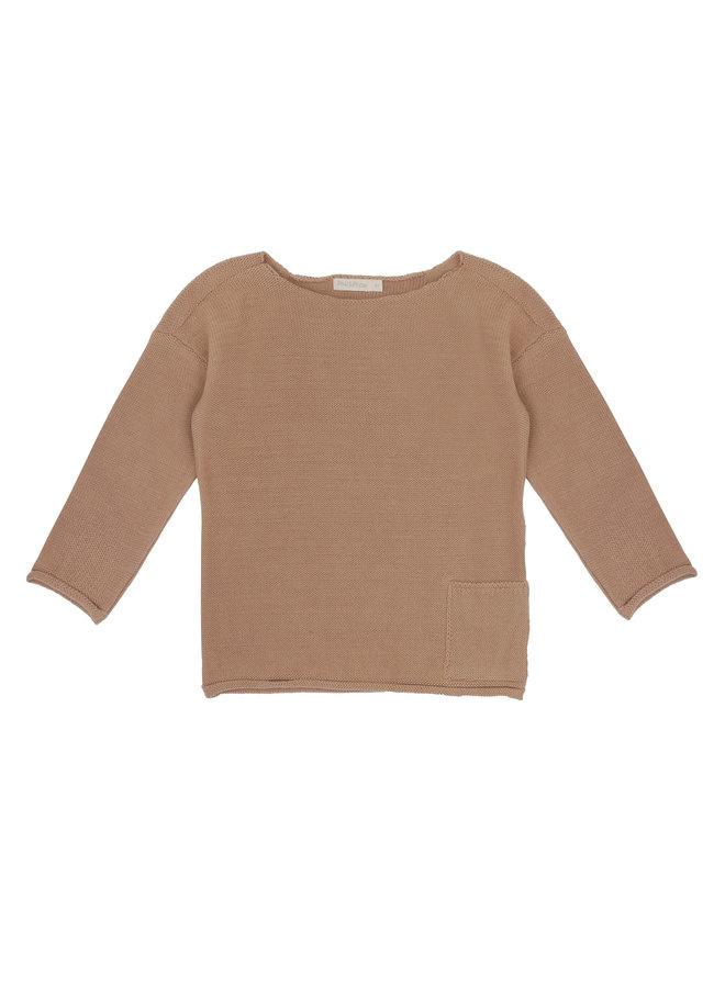 Drop-shoulder knit sweater - Dusty nude-1