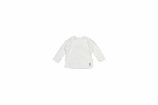 Baby knitted rib top - off-white-1