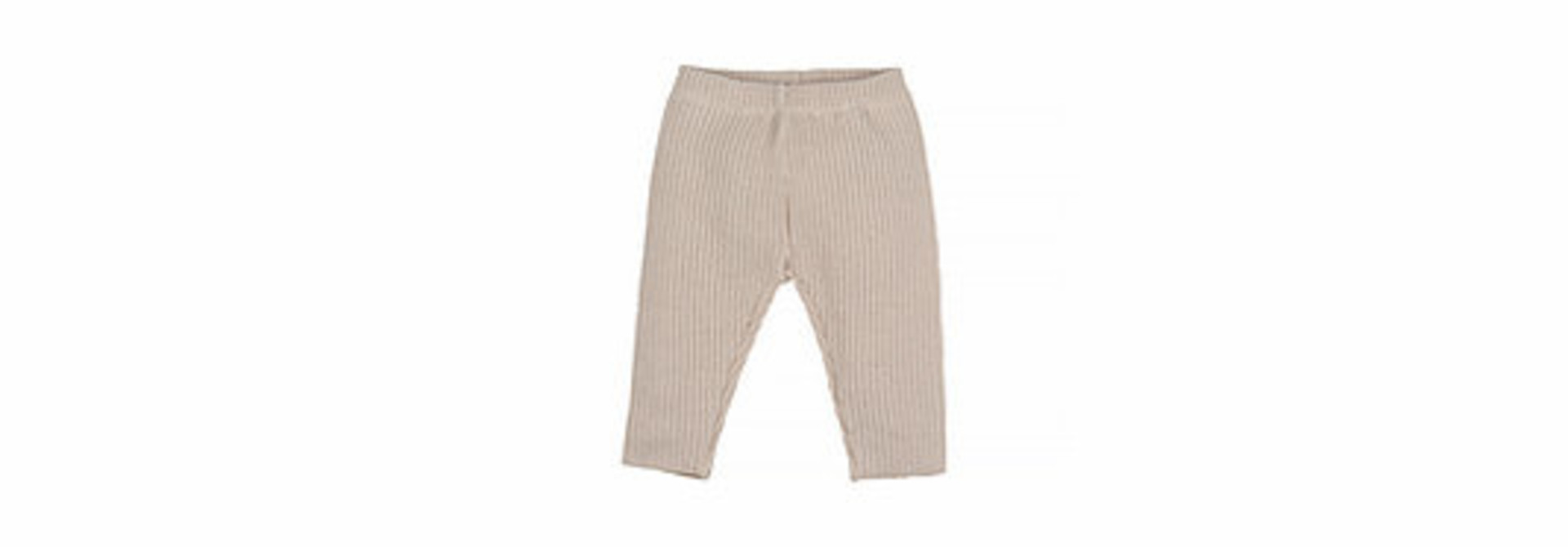 Baby knitted rib pants - natural