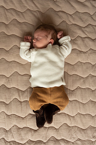 Baby knitted rib pants - sand-2