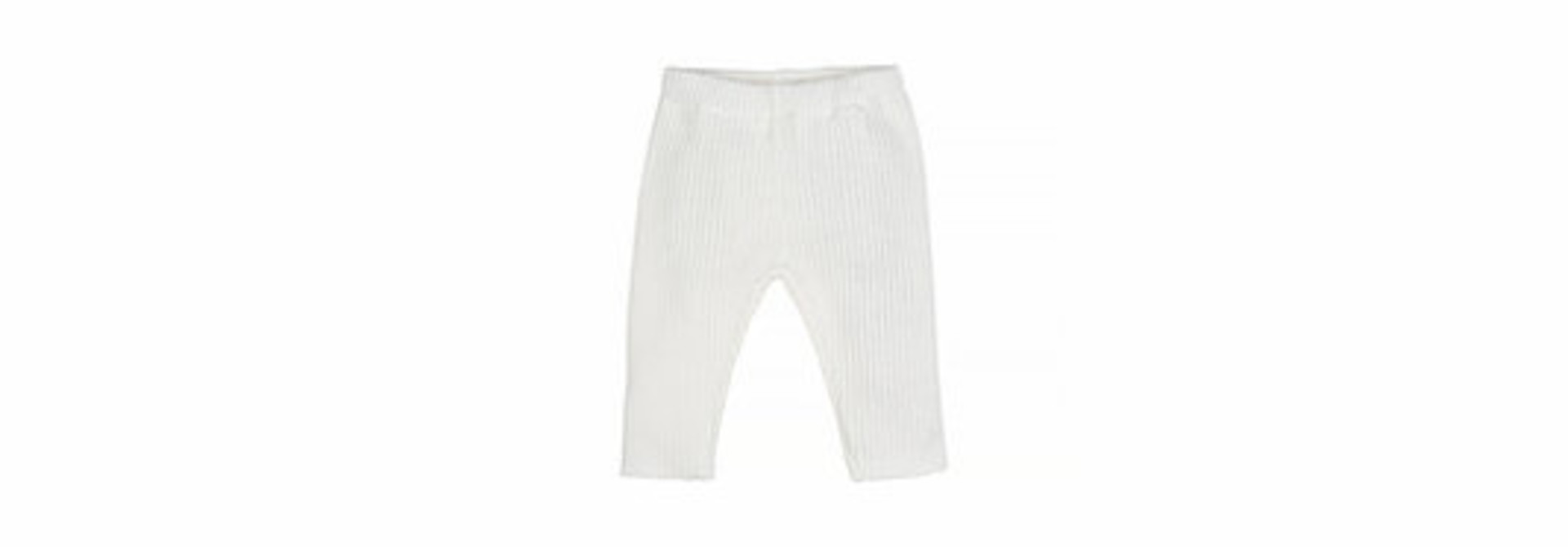 Baby knitted rib pants - off-white