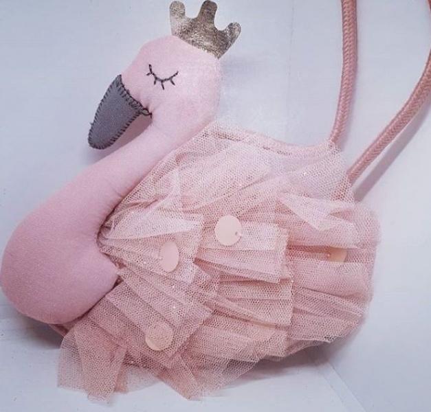 Kids purse pink swan-1