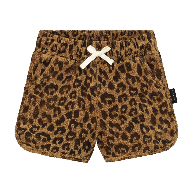 Leopard towel shorts sandstone-1