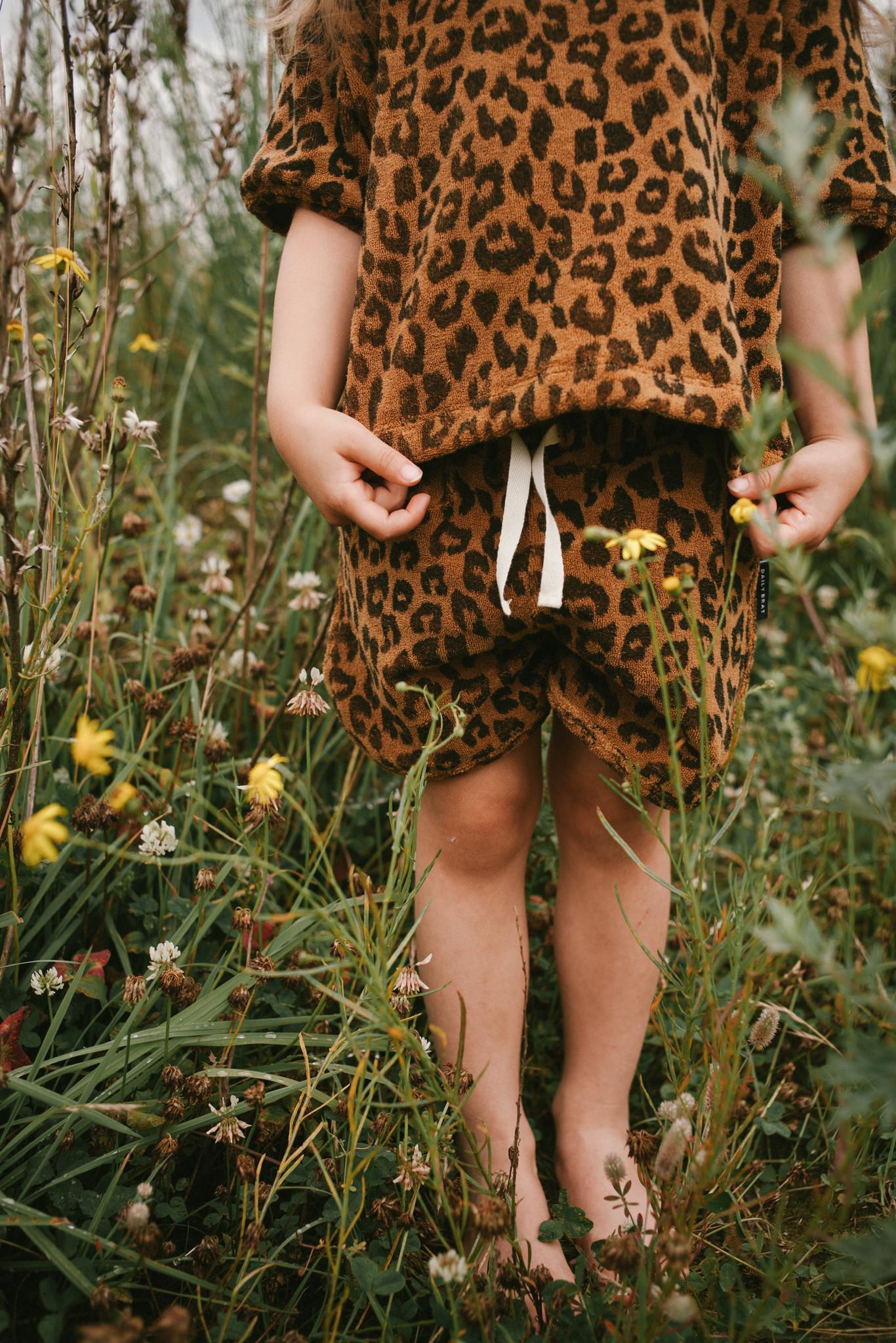 Leopard towel shorts sandstone-3