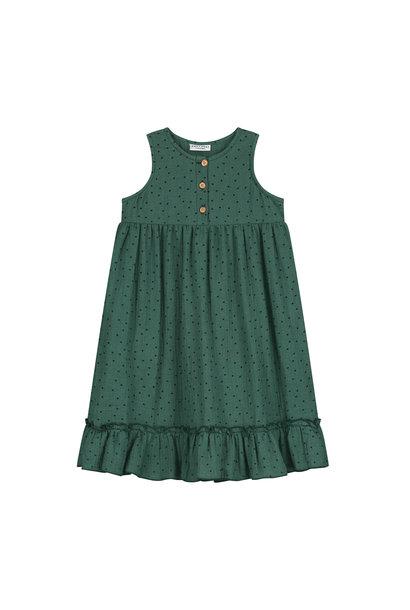 Moon polka dress juniper green