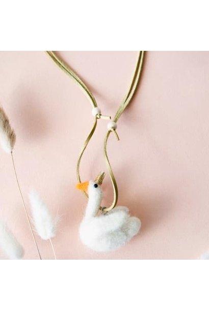 Necklace swan wool-felt