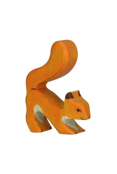 Wooden squirrel - standing - orange