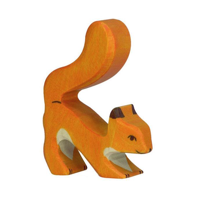 Wooden squirrel - standing - orange-1