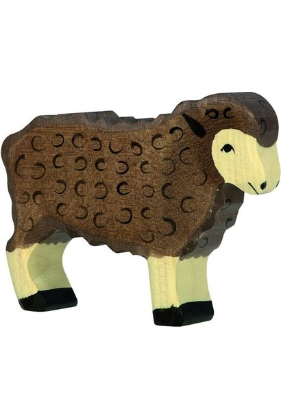 Wooden sheep - standing - brown