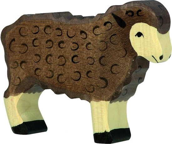Wooden sheep - standing - brown-1