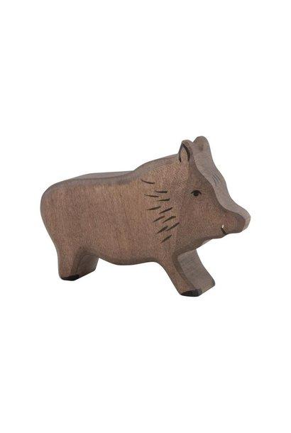 Wooden wild boar - running
