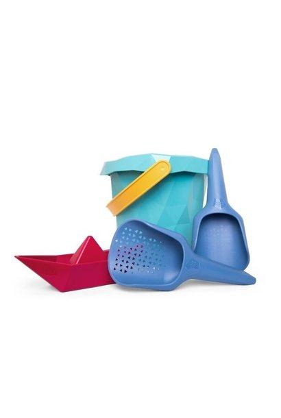 Bucket, sieve, shovel and boat