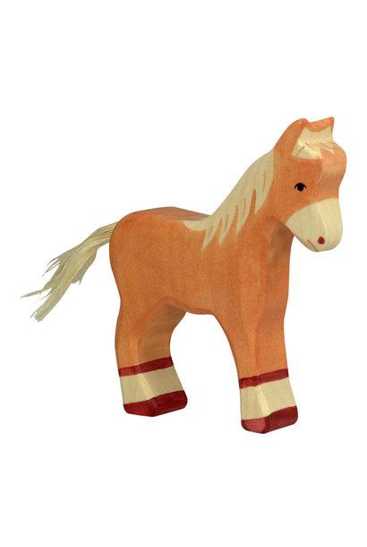 Wooden foal - standing - light brown