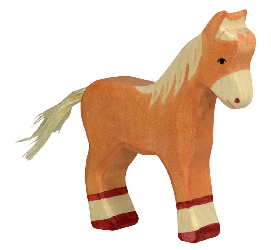 Wooden foal - standing - light brown-1