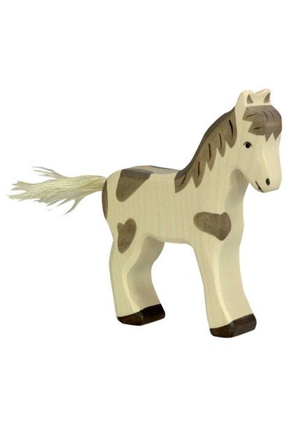 Wooden foal - standing - spotted