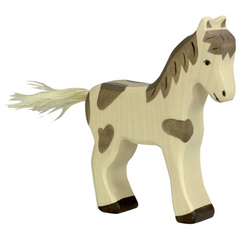 Wooden foal - standing - spotted-1