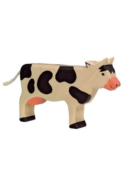 Houten koe - staand - zwart