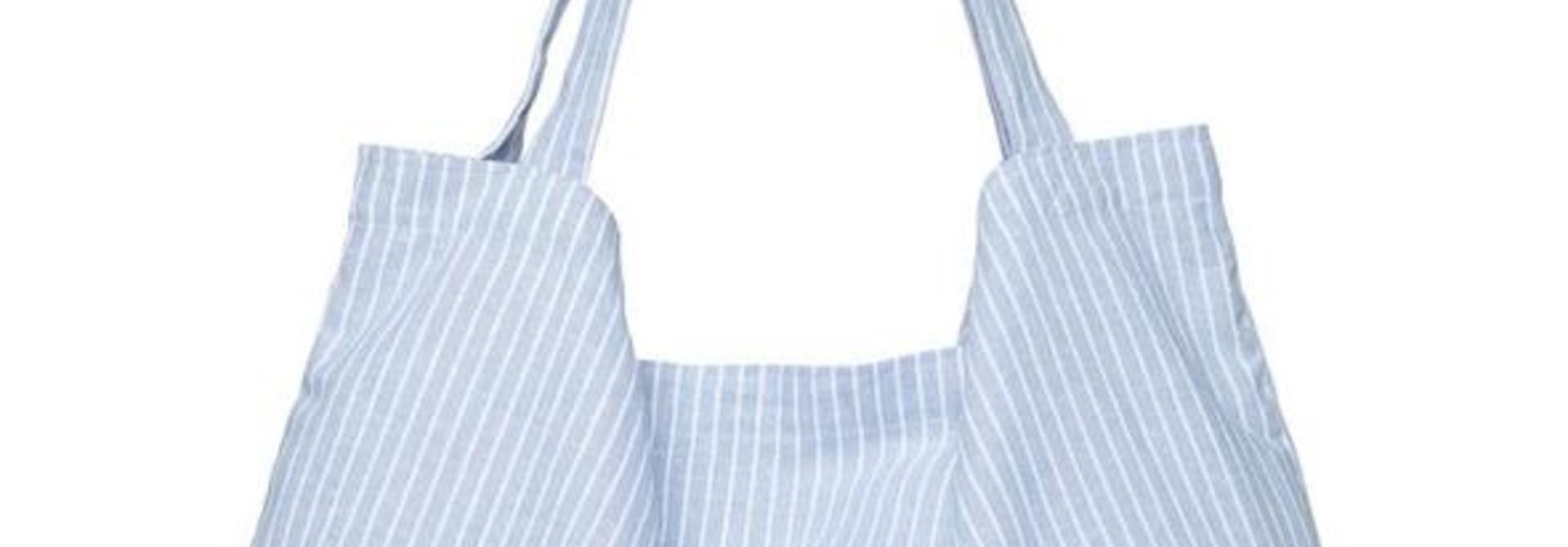 Blue striped linen mom-bag