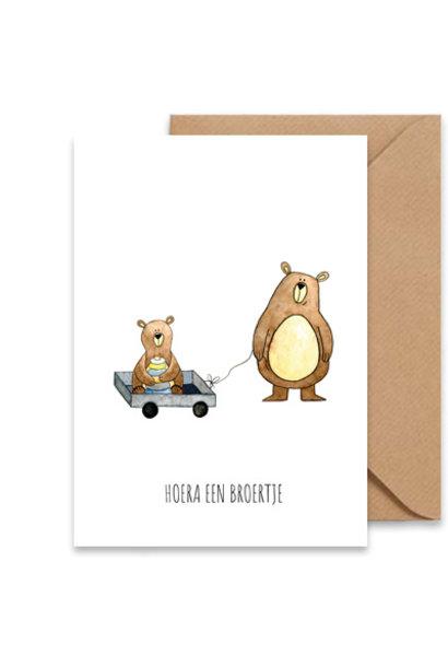 "card bears ""hoera een broertje"""
