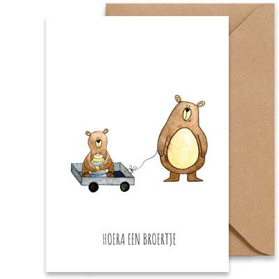 """kaart beren """"hoera een broertje""""-1"""