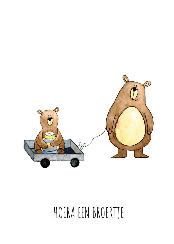 """kaart beren """"hoera een broertje""""-2"""