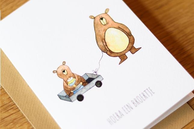 """kaart beren """"hoera een broertje""""-3"""