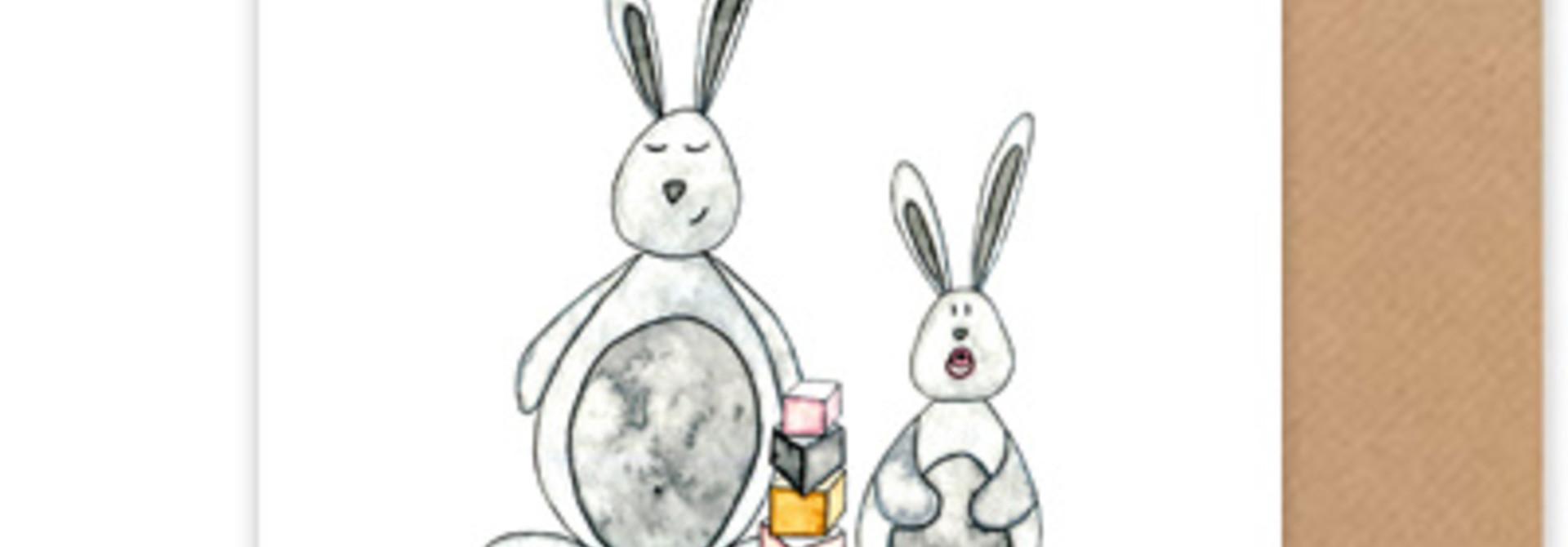 """kaart konijntjes """"hoera een zusje"""""""