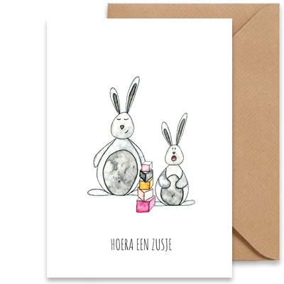 """kaart konijntjes """"hoera een zusje""""-1"""