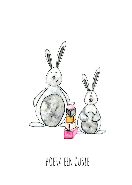 """kaart konijntjes """"hoera een zusje""""-2"""