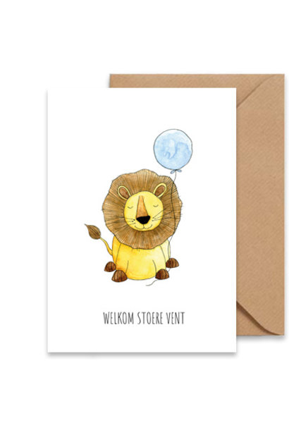 "card lion ""welkom stoere vent"""
