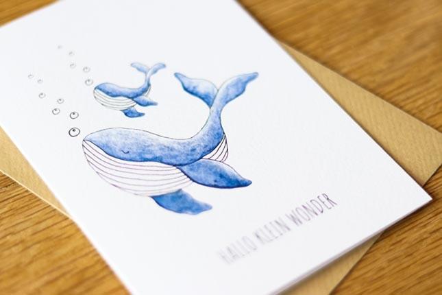 """card whale """"hallo klein wonder""""-3"""