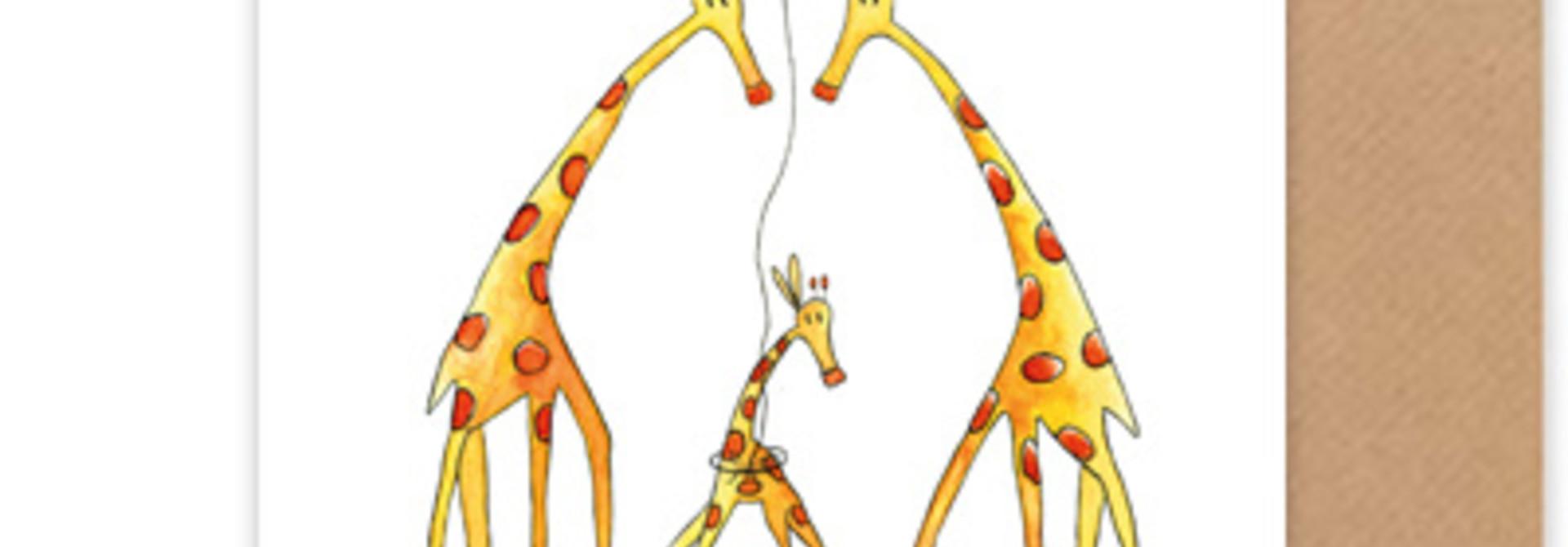 """kaart giraffen """"hallo klein wonder"""""""