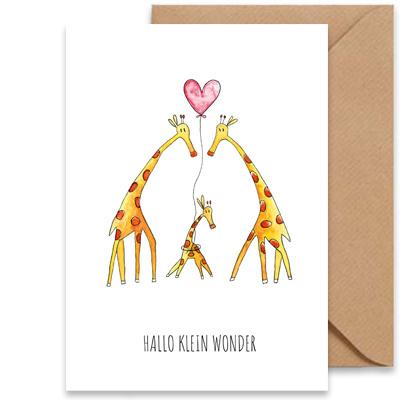 """kaart giraffen """"hallo klein wonder""""-1"""