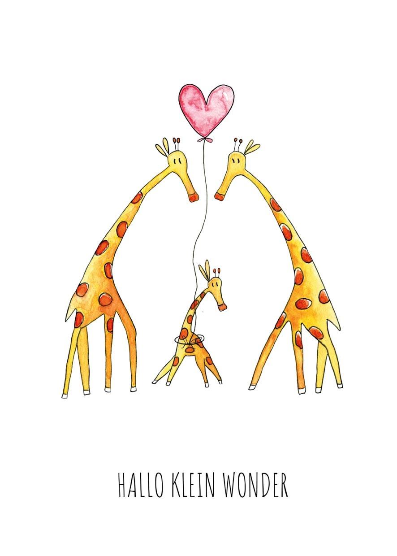 """kaart giraffen """"hallo klein wonder""""-2"""