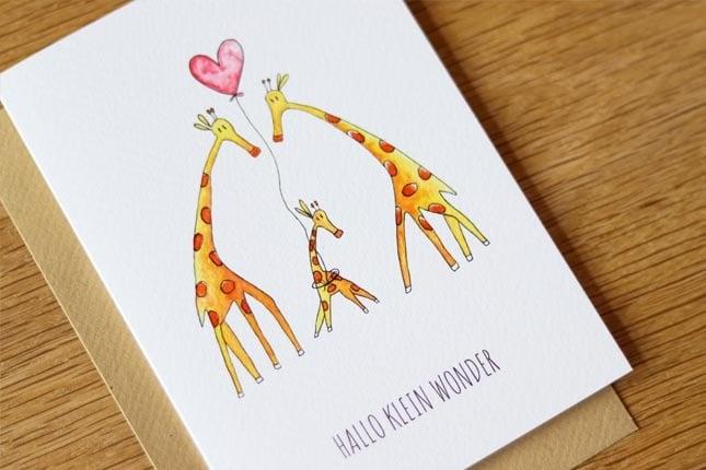 """kaart giraffen """"hallo klein wonder""""-3"""